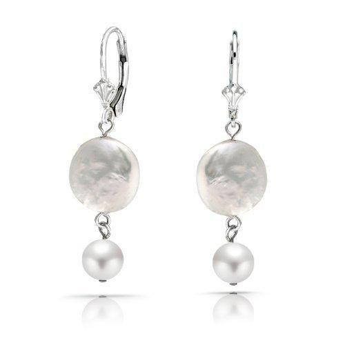 Bling Jewelry Bridal Biwa 925 Sterling Silver Leverback Drop Coin Pearl Earrings
