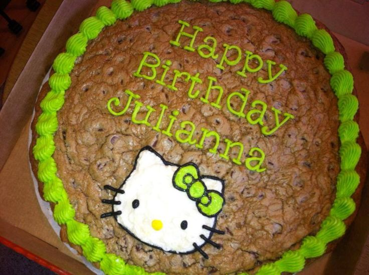 It is so easy to make a Cookie Cake.  Here is a large Hello Kitty Cookie Cake I made for my daughter's Birthday.  These are just like the Mrs. Field's Chocolate Chip Cookie Cakes