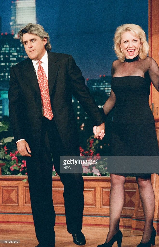 Host Jay Leno and actress Brett Butler on May 6, 1996 --