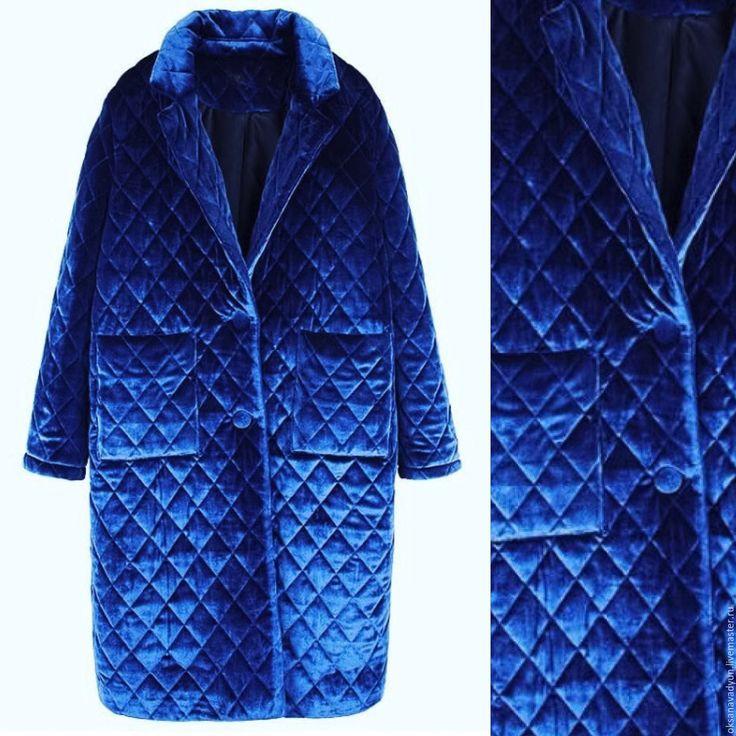 Купить Пуховое пальто бархатное - зеленый, однотонный, пальто женское, пальто, пальто на холофайбере, пуховик