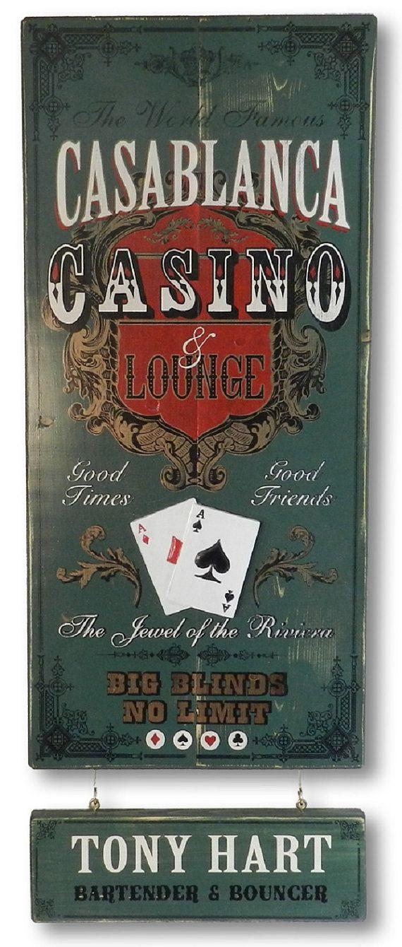 Casino Lounge Vintage Plank Nameplate Sign by KandKSales on Etsy