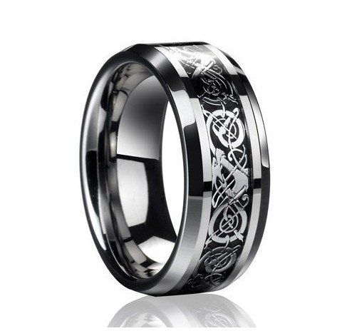 Dj Jewelry Celtic Dragon Comfort Fit Black Inlay Tungsten Colour Stainless Steel Mens Wedding Ring