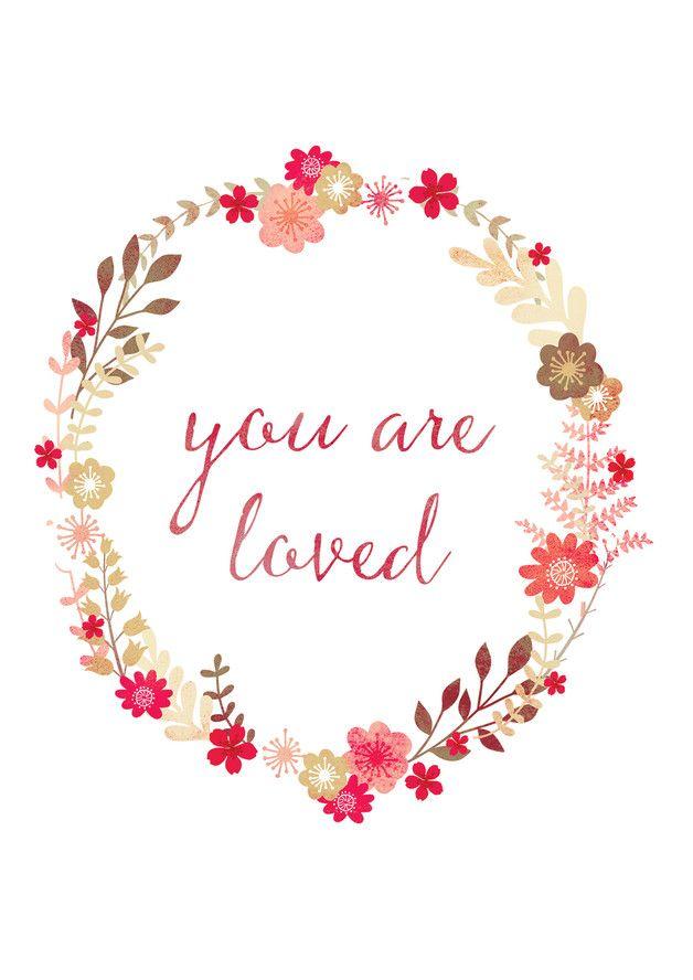 Romantische Illustration mit Blumen, Liebe, Poster / love artprint, flower…