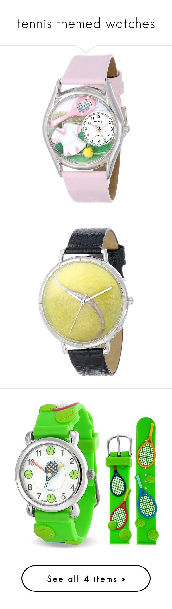 """""""tennis themed watches"""" by tennisidentity ❤ liked on Polyvore featuring jewelry, watches, leather jewelry, pink leather watches, whimsical watches, pink watches, hand crafted jewelry, silvertone watches, black wrist watch and sports watches"""