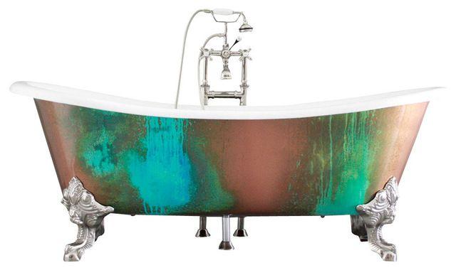 "'The Lanercost' 73"" Cast Iron Slight Slipper Bateau Tub Package from Penhaglion traditional bathtubs"
