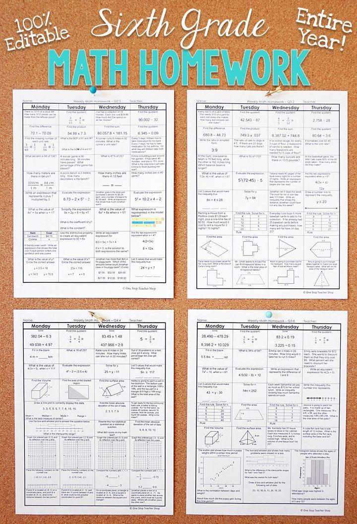 6th Grade Math Homework 6th Grade Warm Ups & Bell Work for ...