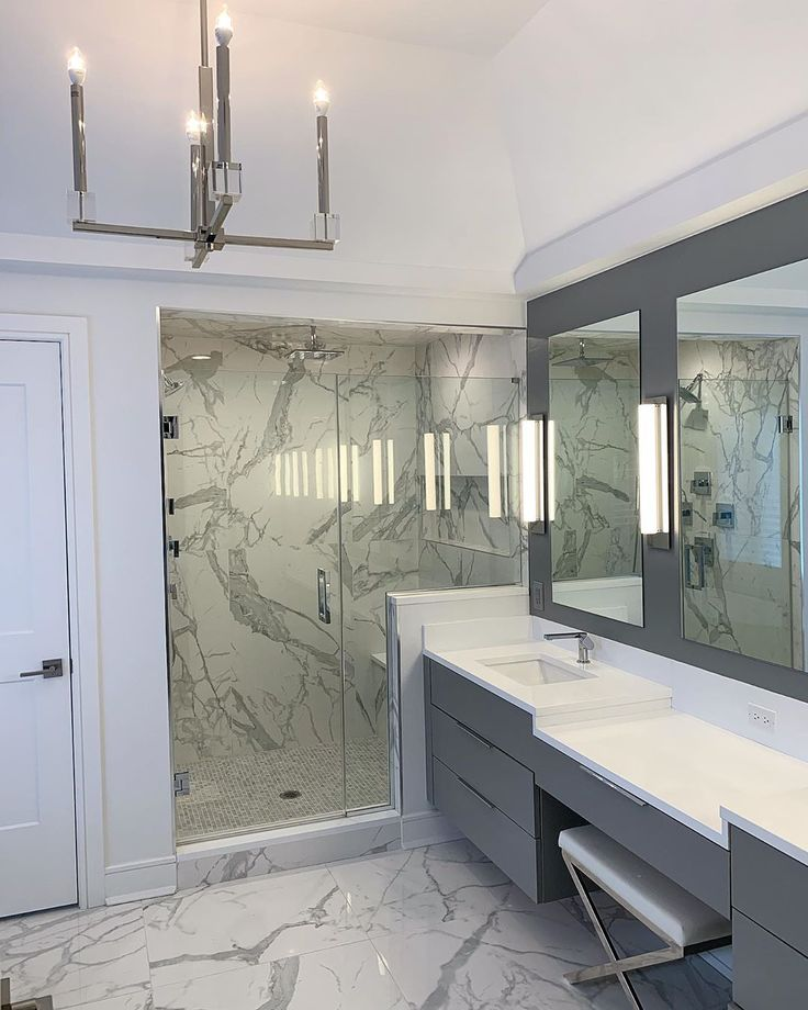 You can never go wrong with white marble in a bathroom