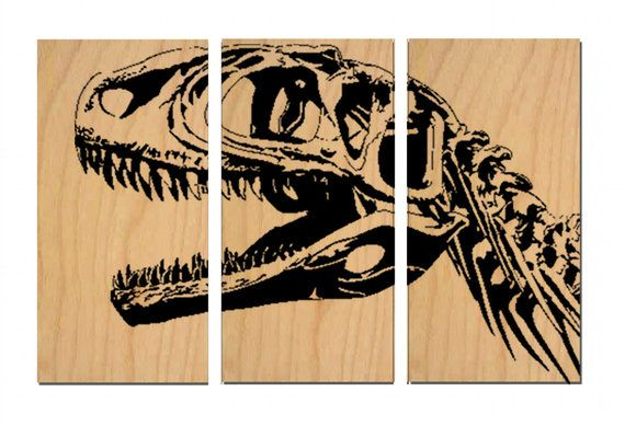 Dinosaur Print Wall Art / Fossil Velociraptor Trex Skeleton Head / Wood  Painting / Stained Solid BIRCH / Gift for Him / Kids room decor | Studios,  ...