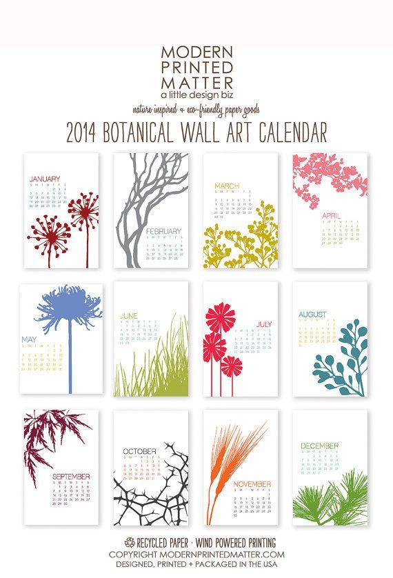 2014 Calendar / Botanical / Wall von ModernPrintedMatter auf Etsy