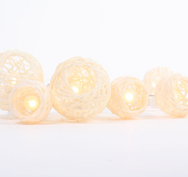 Rouge Living String Lighting Cane ball White