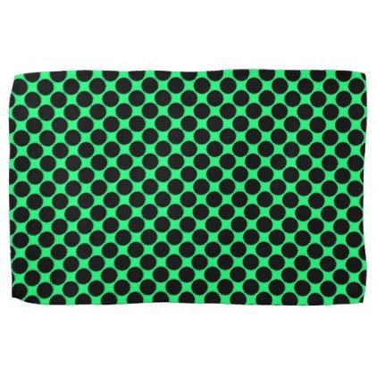 Black Polka Dots On Kiwi Green Hand Towel - retro kitchen gifts vintage custom diy cyo personalize