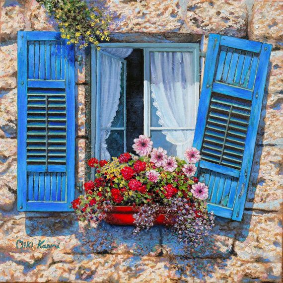Blue window / Original oil painting on canvas by karniart on Etsy, $1290.00