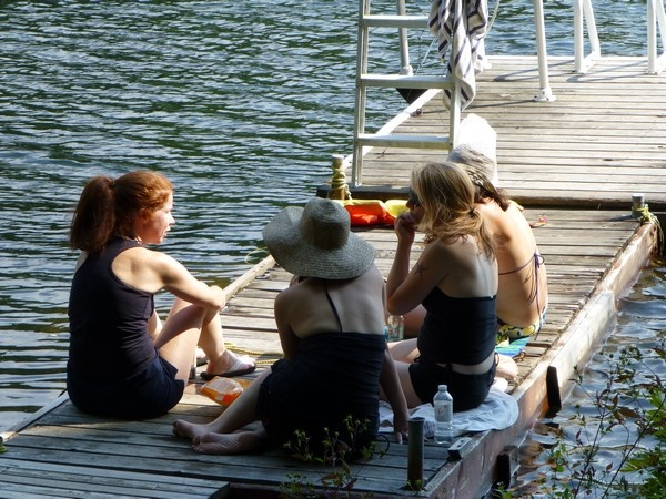 Girls on the dock.