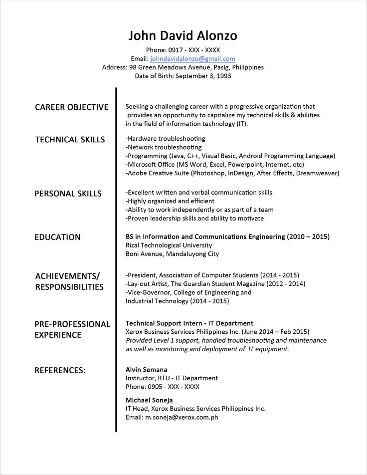 Sample Student Resume For Internship Menu and Resume