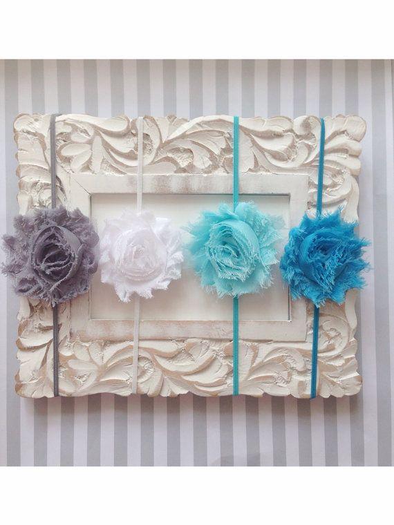 Four Baby Girls Headband Set-Girls Headbands-Rosette Headband Set-Shabby Chic Rosette Headband-Photo Prop-Baby Shower Gift-valentines baby