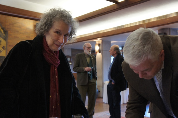 The launch of Rick Salutin's Keeping the Public in Public Education at Massey College, Toronto, April 5th, 2012. Margaret Atwood and Toronto Star editorial page editor Andrew Phillips, with Graeme Gibson and Rick Salutin in the background. Photo: Linda Leith