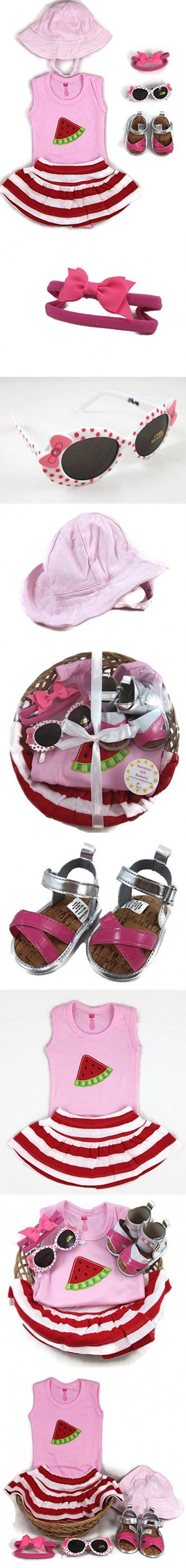 Sunshine Gift Baskets - 4 Piece Summer Baby Shower Gift Set with Sunhat, Sunglasses and Sandals