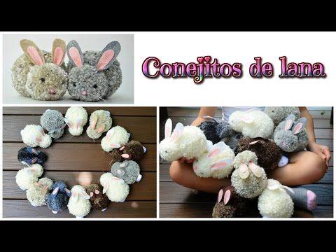 Manualidades fáciles conejitos de pompones de lana - Isa ❤️ | Manualidades                                                                                                                                                                                 Más