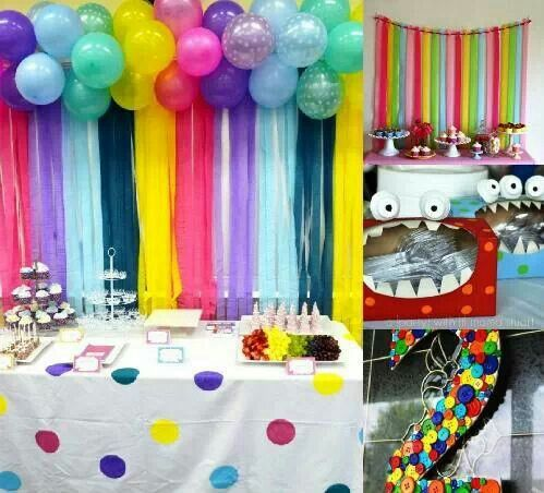 Streamers hanging from ribbon cheap easy backdrop for for Balloon and streamer decoration ideas