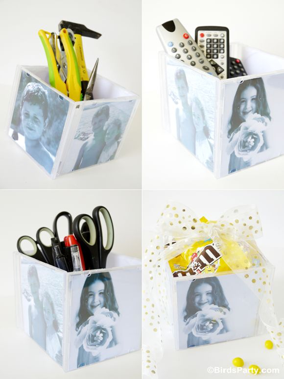 Father's Day Gift Idea: DIY Photo Cube using CDs! Dad can use them to store tools, remote controls, as an office desk tidy, and so on. When it come to wrapping, why not fill the cube with dad's fave candy for that added extra bit of sweetness!! ;)