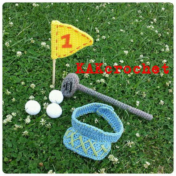 Check out this item in my Etsy shop https://www.etsy.com/listing/234712343/golf-set-crocheted-newborn-photo-props