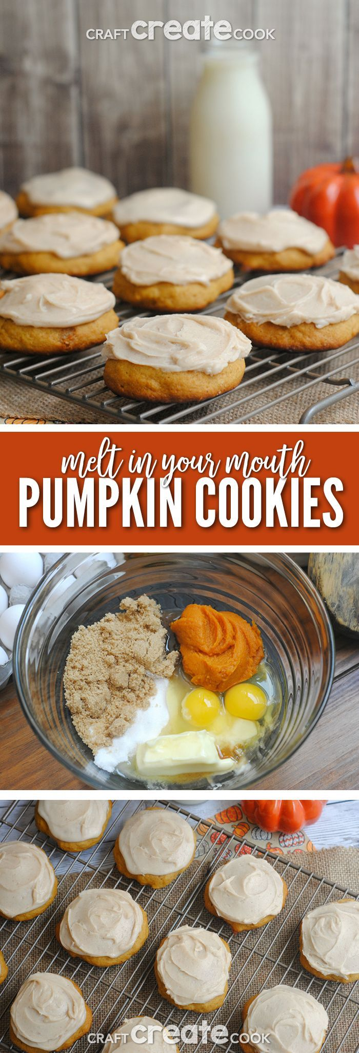 If you love pumpkin, you have to make our ultimate melt in your mouth pumpkin cookies! #pumpkinrecipes via @CraftCreatCook1