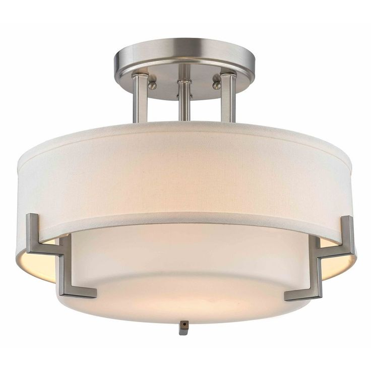 "Design Classics Lighting Modern Ceiling Light with White Glass in Satin Nickel Finish 7014-09 $150 14-1/2""w x 10-3/4""h"