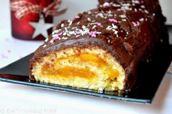 Χριστουγεννιάτικος+κορμός+πορτοκαλιού+με+γλάσο+σοκολάτας