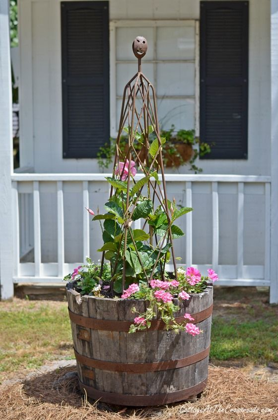 whiskey barrel planter- Visit us at http://www.springcreekfeed.net/ we offer a large variety of garden supplies!