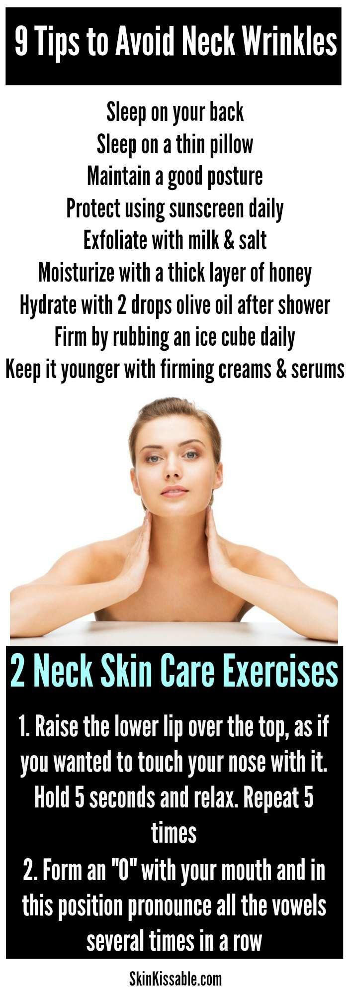 The most effective ways there is to get rid of neck wrinkles. Tips, treatments, creams & homemade natural remedies will help you get rid of a double chin, sagging neck and creases. Give a chance to your neck to look younger, smoother and beautiful.