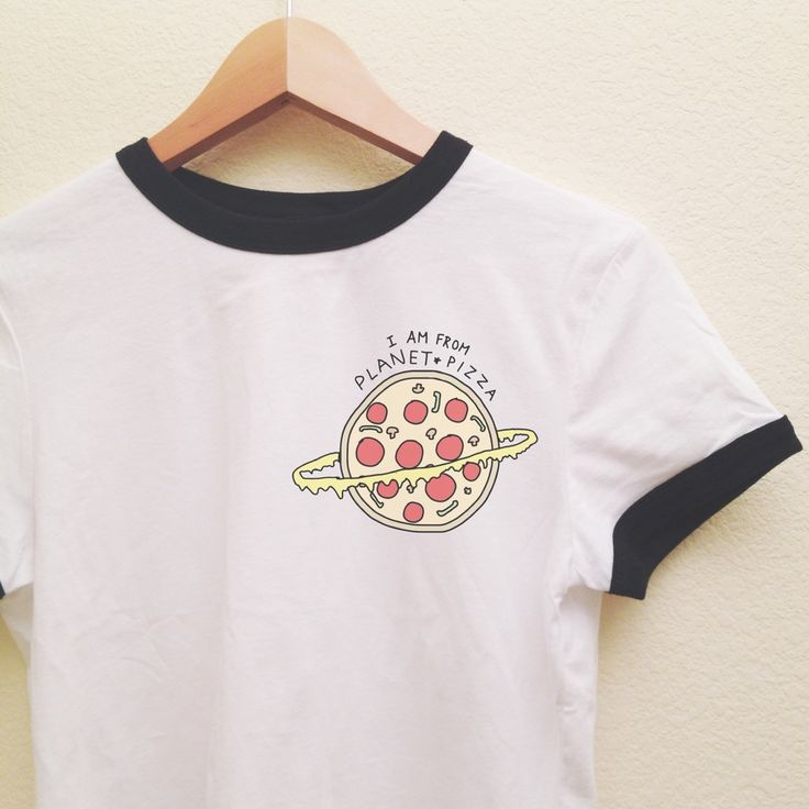 "Our super soft ringer tee, featuring contrasting black neckline and sleeve bands, with our ""I Am From Planet Pizza"" graphic on the left chest. Our ringer tees are a staple to any girl's closet, adding a touch of grunge. They look great styled casually with jeans and boots, or dressed up with a cute plaid skirt. Description : 100% Combed Cotton Small : Length : 23"" Width : 18"" Medium : Length : 24"" Width : 19"""
