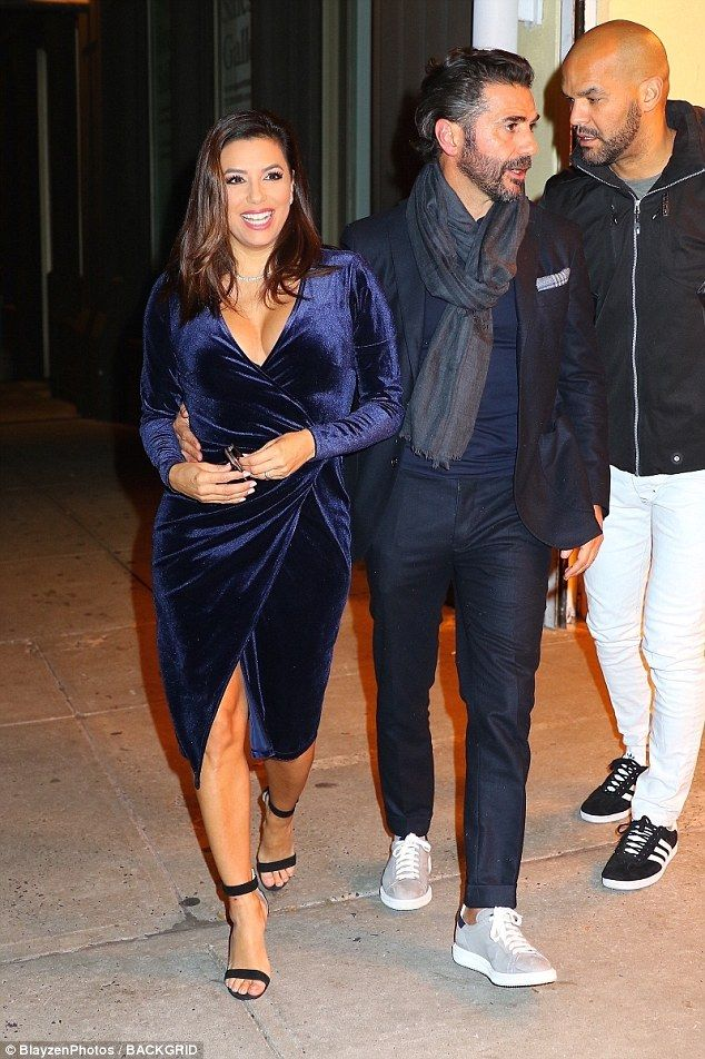 Date night: Eva Longoria enjoyed some down-time with husband of a year Jose Baston, 49, and Prison Break star Amaury Nolasco (far right)