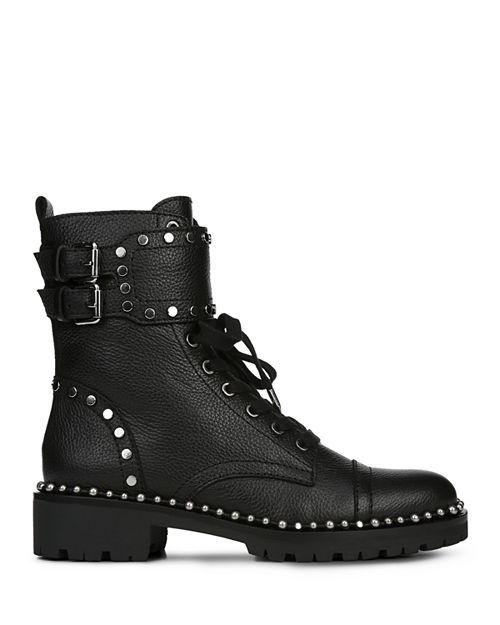 671553f26280b Sam Edelman - Women s Jennifer Studded Leather Combat Booties ...