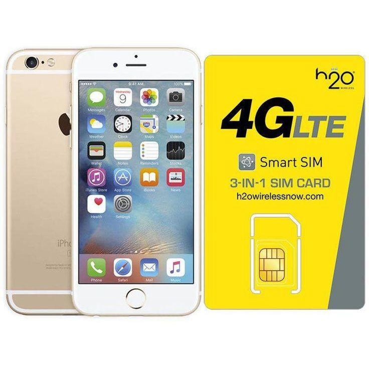 Refurbished iPhone 6 Plus Gold Straight Talk Unlocked 64GB & H20 4G LTE SIM Card (1GB Data Included)
