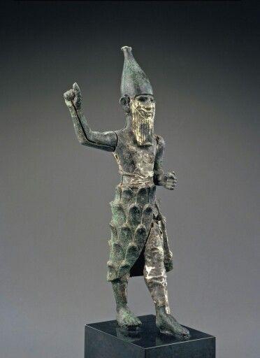 Bronze, silver, and electrum statue of a mountain god. Hittite. Mid 2nd millennium B.C.   Phoenix Ancient Art Gallery
