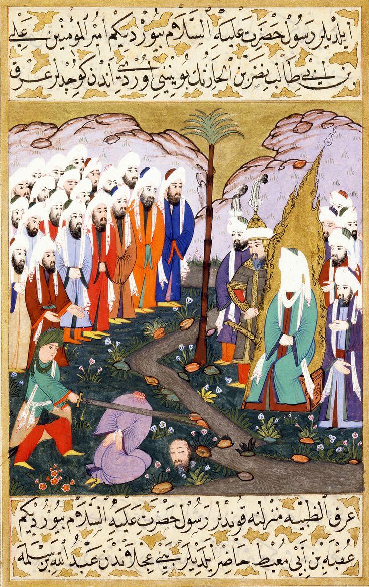 "Miniature from volume 4 of a copy of Mustafa al-Darir's Siyar-i-Nabi. ""Ali Beheading Nadr ibn al-Harith in the Presence of the Prophet Muhammad"" Turkey, Istanbul; c. 1594"