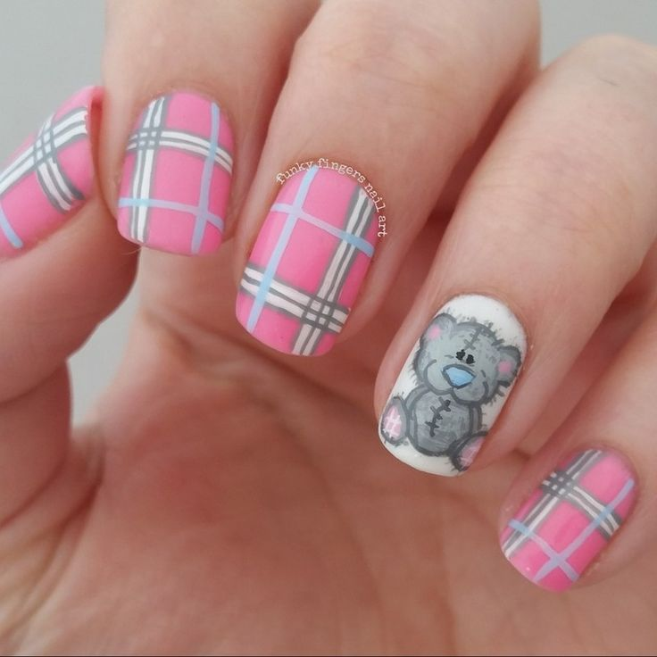 teddy bear and tartan nails nail art by Funky fingers nail art