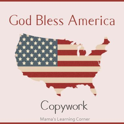 God Bless America Copywork - 2 styles available