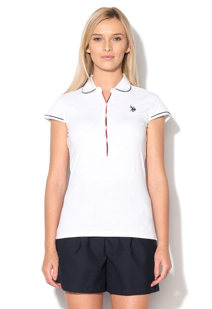 U.S. Polo Assn.  Tricou polo alb cu detalii contrastante