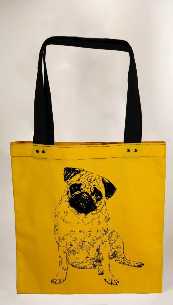Hand screen printed pug cotton tote bag