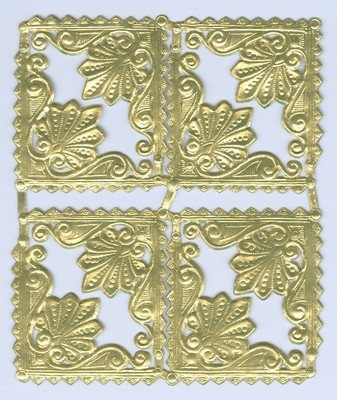 Scrap Die cut German Dresden Gold Foil Paper Decorative Corners Victorian