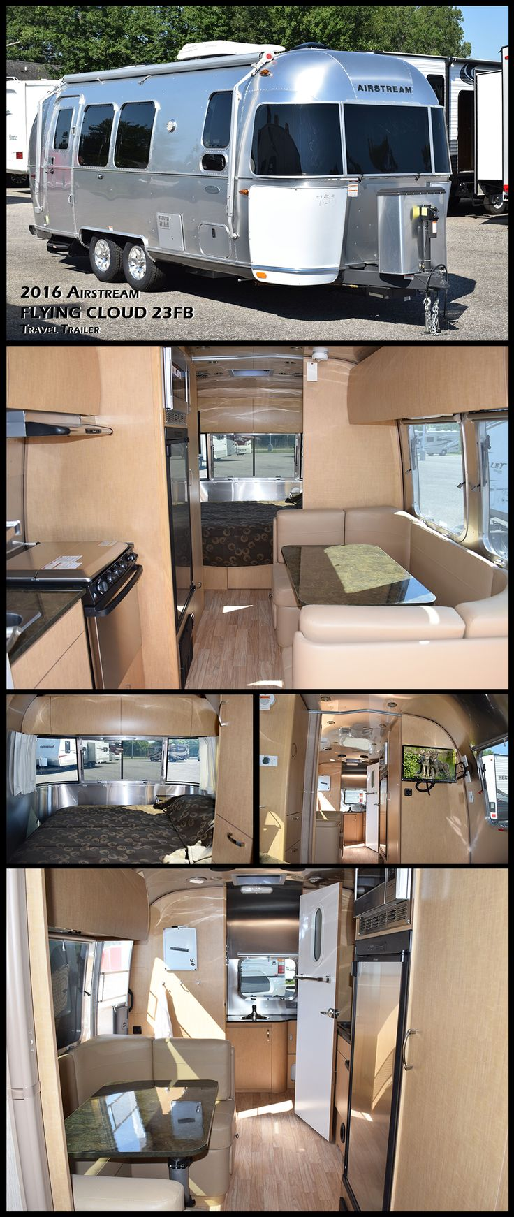 "Check out this new 2016 Airstream FLYING CLOUD 23FB Travel Trailer. Practical and efficient, the Flying Cloud invites you inside with the flair of modern design. Compared to its ""box-shaped"" competitors, it'll last longer, require less maintenance, offer better stability when towing, and cost less at the fuel pump."