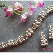 Platinum Pearl Netted Bracelet&Earrings - via @Craftsy