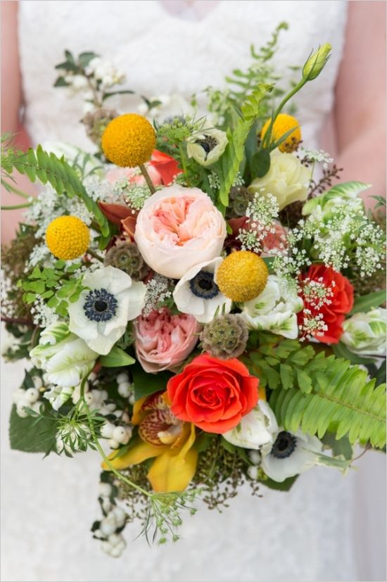 Fall inspired bouquet with yellow billy balls, anemone, and baby's breath. #bouquet #weddingflorals #weddingchicks Captured By: Rodeo & Co Photography ---> http://www.weddingchicks.com/2014/04/28/reveal-your-babys-gender-with-this-cute-wedding-idea/
