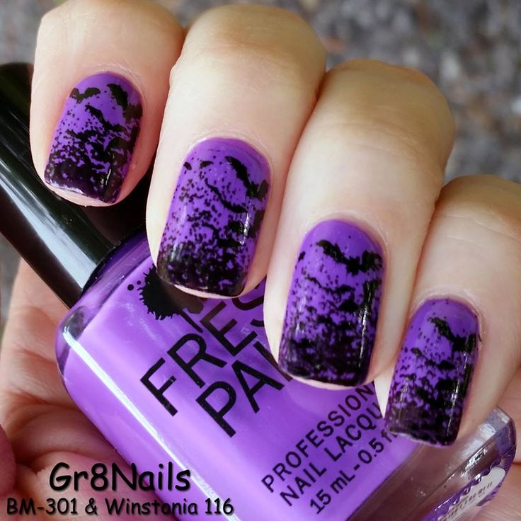 Halloween nail art with winstonia stamping plates