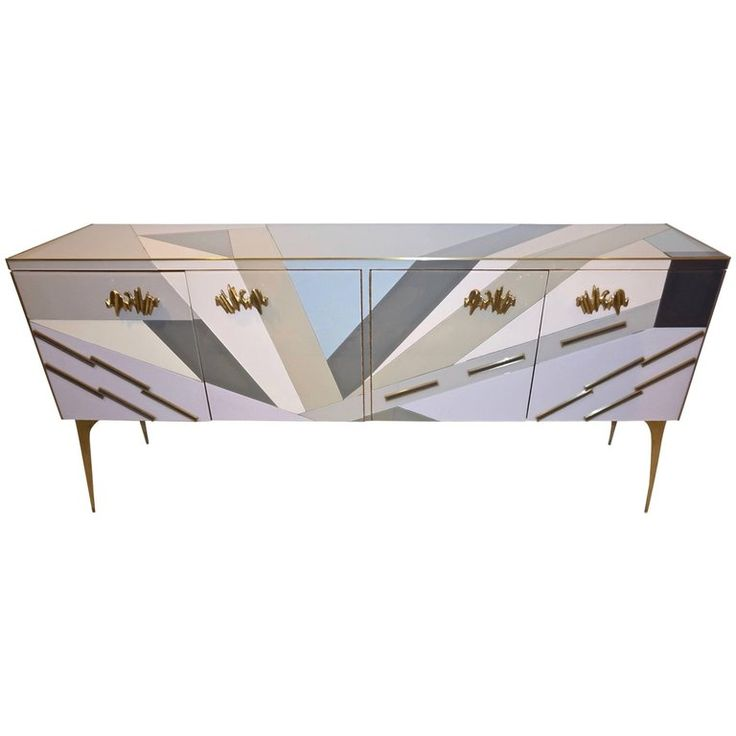 Modern One-of-a-Kind Italian Pop Design Pastel Colored Glass Sideboard | From a unique collection of antique and modern sideboards at https://www.1stdibs.com/furniture/storage-case-pieces/sideboards/