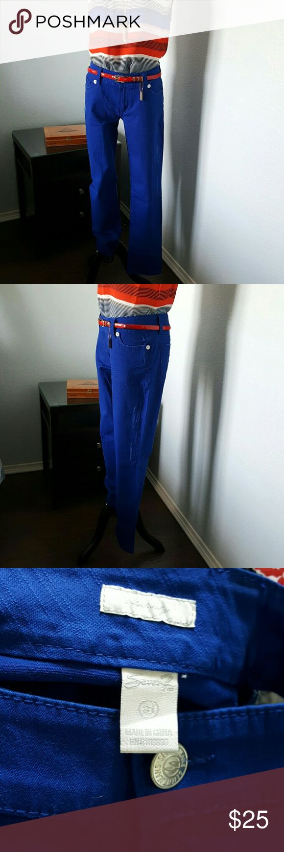 """Seven distressed Cobalt jeans Cobalt distressed  jeans, seven brand  , inseam 30"""" beautiful color for summer, new never worn!! Blouse & belt not include Seven7 Jeans Straight Leg"""