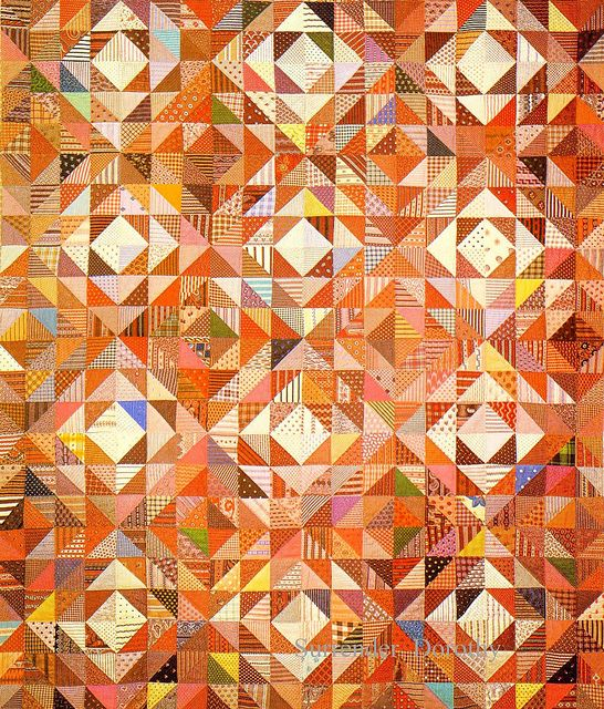 Pieced Triangles Quilt 1875 New York; these 19th-century scrap quilts make my heart sing