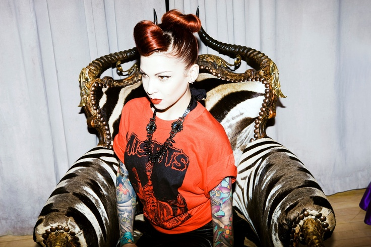 Leah Debrincat wearing a rare Misfits T-shirt late 80's with a 80's leather pencil skirt