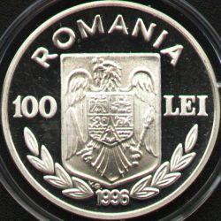 100 lei 1996 UEFA European Football Championship England - obverse